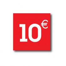 "Sticker adhésif "" 10€ ""  L40 H40 cm"