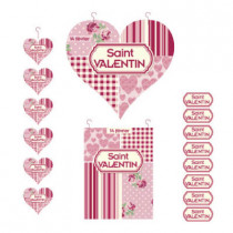 kit de 3 cartons Saint Valentin et 500 stickers