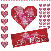 kit de 2 cartons Saint Valentin 1 affiche et 500 stickers