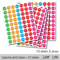 "5 planches de 63 stickers ""-20%...-70%"""