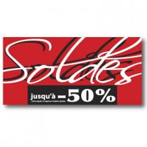"Affiche ""SOLDES jusqu'à -50%""  L115 H56cm"