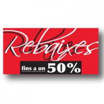 Cartel REBAIXES FINS A UN 50%, 115 x 56 cm