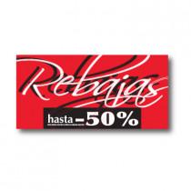 Cartel REBAJAS HASTA -50%, 115 x 56 cm