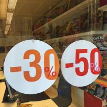 """Carton rond recto """"50%"""" verso """"30%"""" 32 cm et 2 ventouses"""