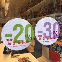 """Carton rond recto """"20%"""" verso """"30%"""" 32 cm et 2 ventouses"""