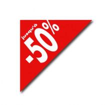 """Affiche triangle """"JUSQU'A - 50%"""" L60 H60 cm"""