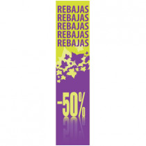 Cartel REBAJAS -50%, 168 x 40 cm