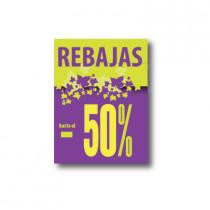 Cartel REBAJAS -50%, 60 x 80 cm