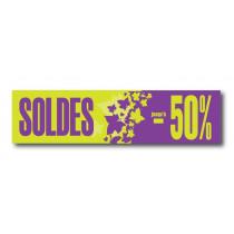 "Affiche ""SOLDES jusqu'à -50%"" L120 H30 cm"