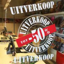 "Window cling poster ""UITVERKOOP  -50%"" L 50 H70 cm"