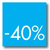 Cartel -40 %, 40 x 40 cm