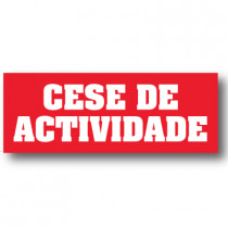 Cartel CESE DE ACTIVIDADE, 30 x 82 cm