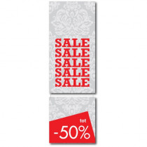 "Cardboard ""SALE UP 50%"" L105 H34 cm"
