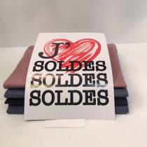 """Pochette de 5 cartons A4 """"J'AIME LES SOLDES"""""""