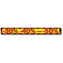 """Sticker adhésif """"-30% ... jusqu'à -50%"""" L100 H10 cm"""
