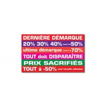 """Sticker adhésif """"dernière demarque..."""" L65 H39 cm"""