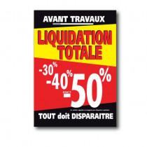 """Affiche """"LIQUIDATION TOTALE -30% -40% jusqu'à -50%"""" L70 H95 cm"""