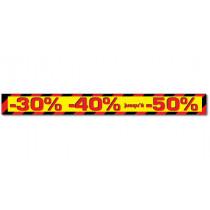 """Affiche """"-30 % -40% jusqu'à -50%"""" L170 H17 cm"""