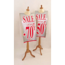 "Affiche mannequin  ""SALE UP TO -70%/-50% OFF..."" L40 H168 cm"