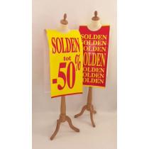 """Poster mannequin  """"SOLDEN tot  -50%"""" L40 H168 cm"""