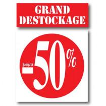 """Kit de 2 affiches """"GRAND DESTOCKAGE JUSQU'A -50%"""""""