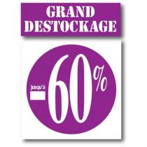 """Kit de 2 affiches """"GRAND DESTOCKAGE JUSQU'A -60%"""""""