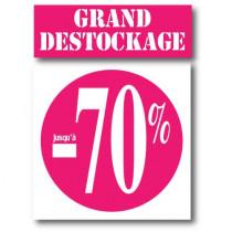 """Kit de 2 affiches """"GRAND DESTOCKAGE JUSQU'A -70%"""""""
