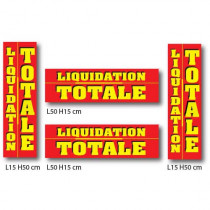 "Kit 4 affiches ""LIQUIDATION TOTALE"" 50 x15 cm"