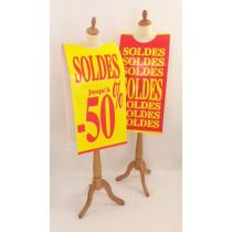 """Affiche mannequin """"SOLDES -50%"""" L40 H168 cm"""