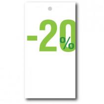 """Paquet de 100 étiquettes carton """"-20%"""" L50 H95 mm"""