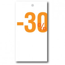 """Paquet de 100 étiquettes carton """"-30%"""" L50 H95 mm"""