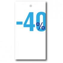 """Paquet de 100 étiquettes carton """"-40%"""" L50 H95 mm"""