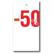 """Paquet de 100 étiquettes carton """"-50%"""" L50 H95 mm"""