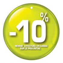 """Paquet de 100 étiquettes carton """"-10%"""" L50 H50 mm"""