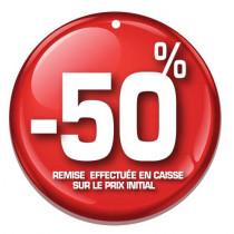 """Paquet de 100 étiquettes carton """"-50%"""" L50 H50 mm"""
