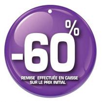 """Paquet de 100 étiquettes carton """"-60%"""" L50 H50 mm"""