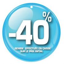 """Paquet de 100 étiquettes carton """"-40%"""" L50 H50 mm"""