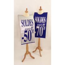 """Affiche mannequin  """"SOLDES jusqu'à -50%, -70%"""" L40 H168 cm"""