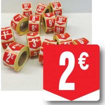 """Rouleau de 500 étiquettes adhésives """"2€"""" 35mm"""