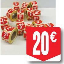 """Rouleau de 500 étiquettes adhésives """"20€"""" 35mm"""