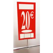 "Panneau polypro ""20€"" L19 H38 cm"