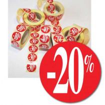 """Rouleau de 500 étiquettes adhésives """"-20%"""" 24 mm"""