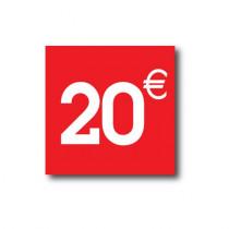 "Sticker adhésif "" 20€ ""  L40 H40 cm"