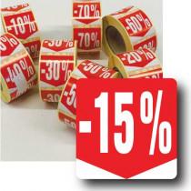 """Rouleau de 500 étiquettes adhésives """"15%"""" 35mm"""