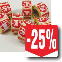 """Rouleau de 500 étiquettes adhésives """"25%"""" 35mm"""
