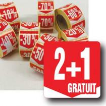 """Rouleau de 500 étiquettes adhésives """"2+1 GRATUIT"""" 35mm"""