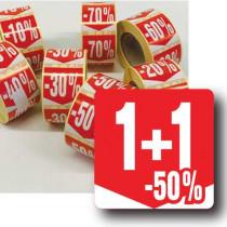 """Rouleau de 500 étiquettes adhésives """"1+1-50%"""" 35mm"""