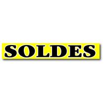 """Affiche """"SOLDES"""" jaune fluo L168 H20 cm"""