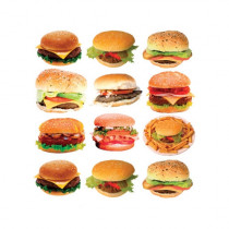 "Sticker pour table basse IKEA Lack décor ""12 BURGER"" L55 H 55 cm"
