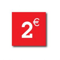 "Sticker adhésif "" 2€ "" L40 H40 cm"